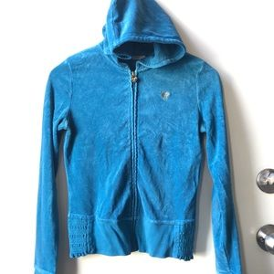 TNA Turquoise zip up sweater size small